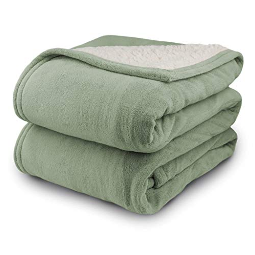 Biddeford 2063-9052140-633 MicroPlush Sherpa Electric Heated Blanket Queen Sage