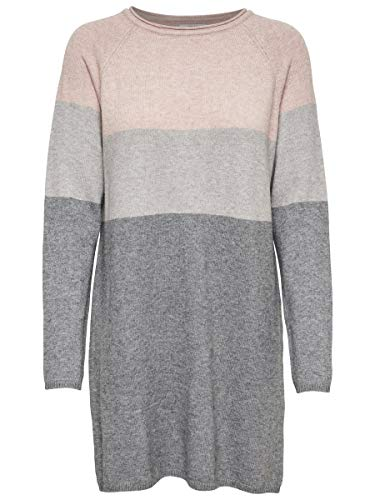 Only Onllillo L/s Dress Knt Noos Vestido, Multicolor (Mahogany Rose Detail: W Melange/Light Grey Melange/Medium Grey Melange), Small para Mujer