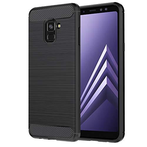 Anjoo Coque Compatible pour Samsung A8 2018, Noir Silicone Housse Etui Anti-Rayures Fibre de Carbone Coque de Protection Compatible pour Samsung Galaxy A8 2018, Noir