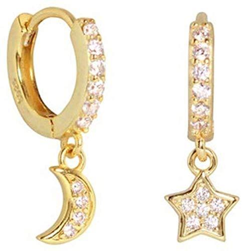GUOSHUFANG Pendientes de aro Redondos de Lujo con Forma de Estrella de Luna para Mujeres y niñas, de Plata de Ley 925 (Oro)