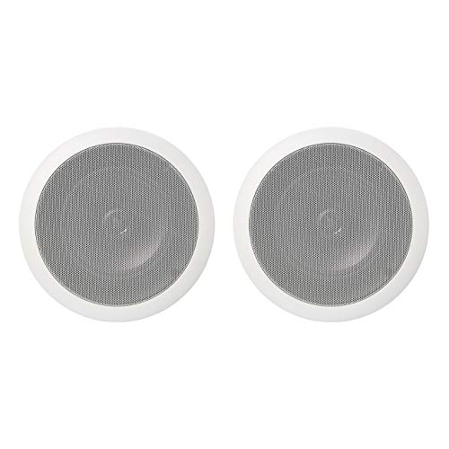 Amazon Basics – Altavoces redondos empotrables en pared o techo de 16,5 cm (pareja)