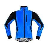 TDHLW Hombres Chaqueta de Ciclismo para Correr Invierno a Prueba de Viento Impermeable CáLido Transpirable Reflectante Ligero Chaqueta de Bicicleta Softshell Abrigo Calentamiento,Azul,3XL