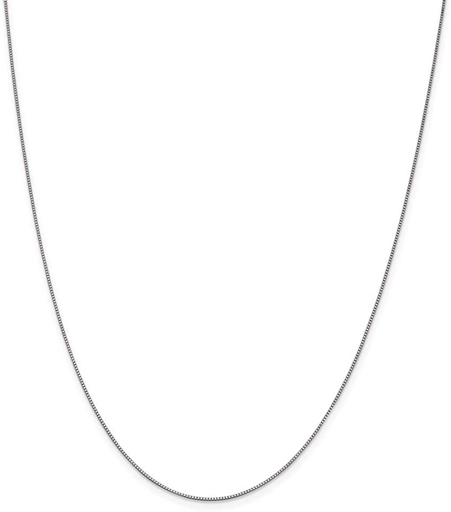 10k White Gold .7mm Link Box Chain Necklace 22 Inch Pendant Charm Fine Jewelry For Women Gifts For Her