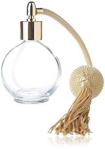 Gold Tassel 78ml Classic Round Perfume Bottle Atomizer, Filling Funnel & Box Included (GF)