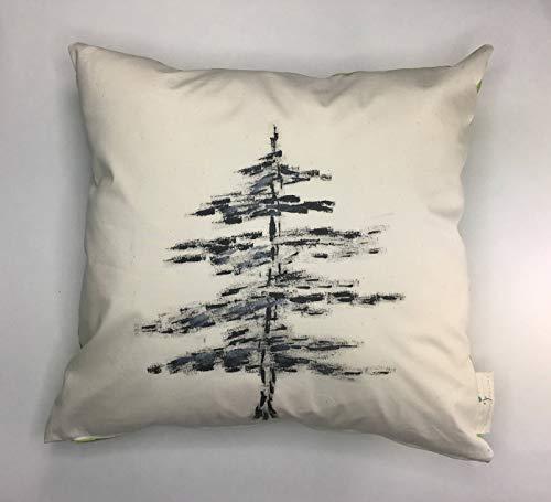 Ad4ssdu4 Funda de almohada con diseño de árbol de Navidad, pintada a mano, color negro, para decoración de Navidad