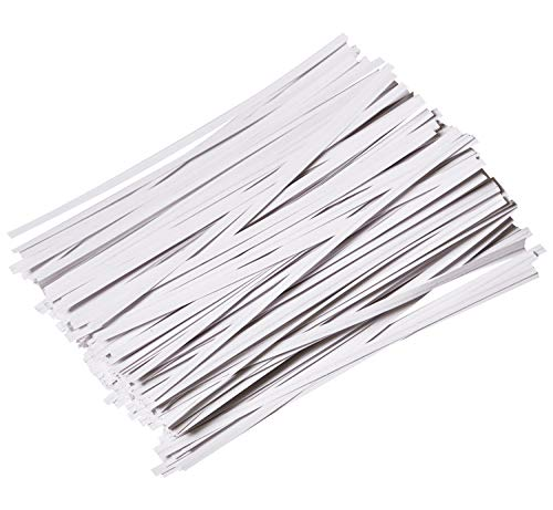 CandyHome 1000 Pcs 6' Paper White Twist Ties Reusable Bread Ties for Party Cello Candy Coffee Bags Cake Pops