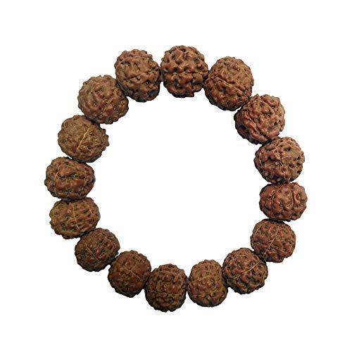 Exotic PrayerBeads Armband Jenitri Rudraksha Seed 15 mm mit 16 Perlen auf schwarzem elastischem Band Unisex