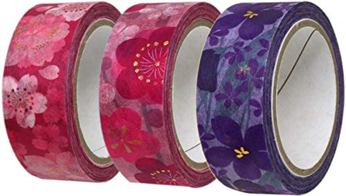 カミイソ 日本製 和紙 マスキングテープ kimono美 3巻 (桜・梅・菫) セット 幅15mm×7m巻 デザインテープ リメイク アレンジ GR-0511