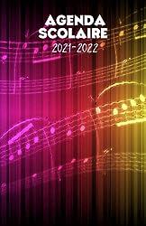 Agenda scolaire 2021-2022 motif musique partition arc en ciel: Un sublime agenda journalier pour élémentaire, collège, lycée