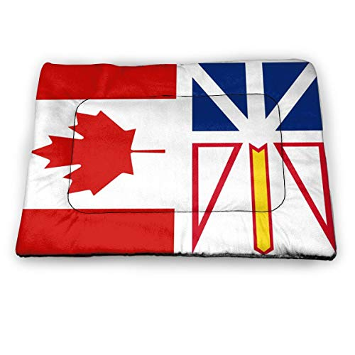 Newfoundland and Labrador Flag Canada Flag Dog Cat Bed Pad Soft Comfortable Crate Mat Pet Mattress for Sleeping Dogs and Cats Kennel Pad with Non-Slip Bottom Machine Washable