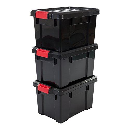 IRIS, 3er-Set Aufbewahrungsboxen \'Power Box\', SK-210, mit Klickverschlüssen, Plastik, schwarz, 21 L, 46 x 29,7 x 25,7 cm
