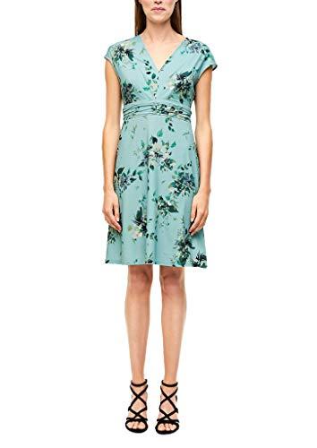 s.Oliver BLACK LABEL Damen 155.10.005.20.200.2037471 Kleid für besondere Anlässe, Light Petrol AOP, 40