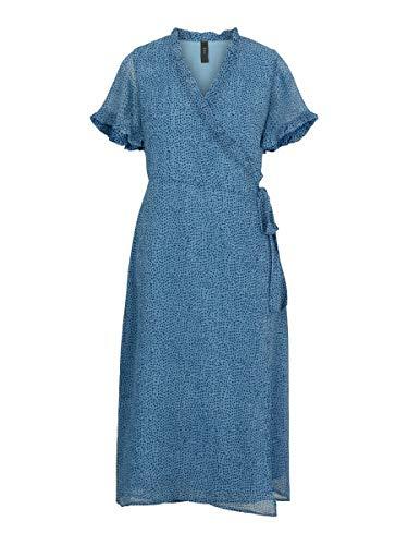 YAS YASDITLA SS Wrap Midi Dress CA-S. Vestido, Aluminio, L para Mujer