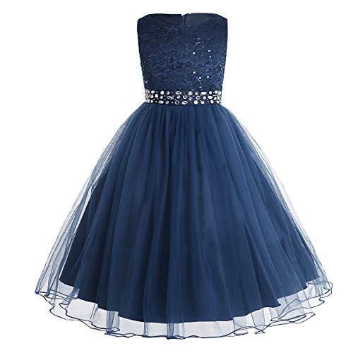 CHICTRY Kinder Mädchen Kleid festlich Lange Brautjungfern Kleider Hochzeit Blumenmädchenkleid Prinzessin Party Kleid Tüll Festzug Marineblau 140