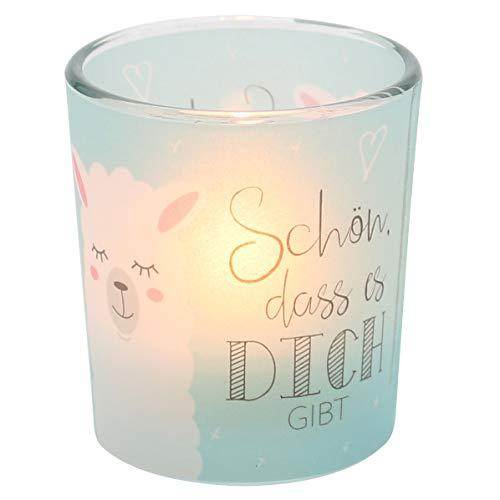 Dekohelden24 Windlichtglas mit Motiv auf Einer transparenten Banderole, inkl. 1 Teelicht, H/Ø: 6,5 x 6 cm, Motiv: Schön DASS es Dich gibt.