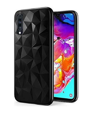 Morando Schutzhülle für Samsung Galaxy A40, Pollyanna Prism Case in Schwarz, stoßfest, rutschfest, Gummi, Gummi, Gummi, Schwarz mit 3D-Prismen für ein originelles Lichtspiel