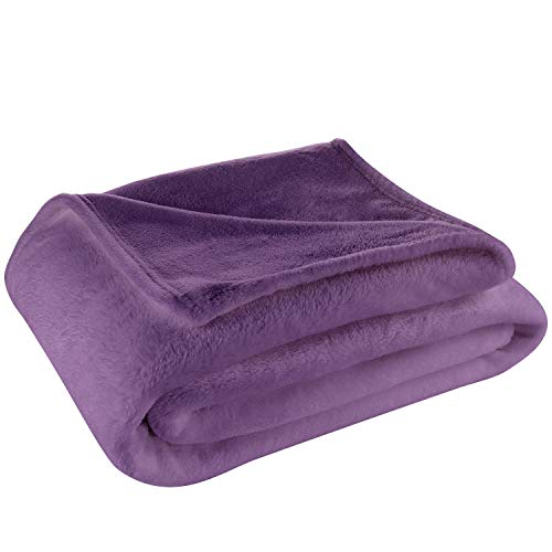 Cosy House Collection King/Cal King Size Fleece Blanket – All Season, Lightweight & Plush Hypoallergenic - Microfiber Blankets for Bed, Couch or Travel - Purple