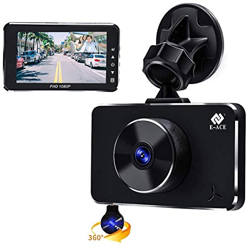 E-ACE Dual Dash Cam for Cars 1080p Front 170° Wide Angle and Cabin Inside Camera 360° Rotatable Camera with Night Vision Parking Monitor G-Sensor Loop Recording WDR Motion Detection (B15-US)