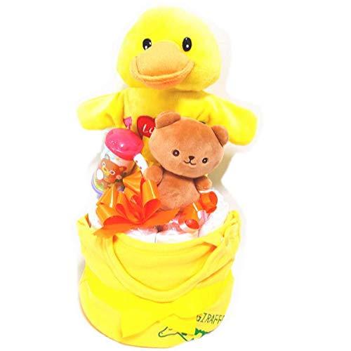2116おむつケーキ2段男の子女の子ベビー服とアヒルのパペット人形楽しい玩具付き オムツケーキ出産祝い