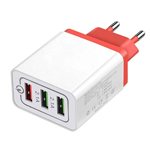 Reuvv Cargador USB Enchufe Cargador de Pared 3 Puertos Rápido Carga Cabeza Qc3.0 USB Universal Cargador de Pared Enchufe de Adaptadores para iPhone, Samsung, Tableta, Mp3 - Rojo, EU