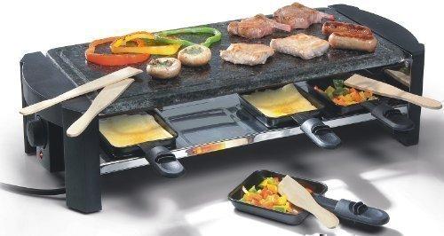 Steingrill Raclette Set (bis zu 8 Personen, rechteckige Backplatte, Steinplatte, leichte Reinigung)
