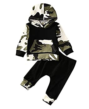 Moore Infant Baby Boys Camouflage Hoodie Tops +Long Pants Outfits Set Clothes 0-3Y  12-18 Months Camouflage