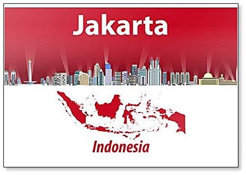 Kühlschrankmagnet mit Illustration der Skyline der Stadt Jakarta mit Flagge & indonesischer Landkarte