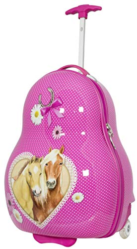 Trendyshop365 Kinder-Koffer Hartschale Pferde 54 Zentimeter 32 Liter 2 LED-Räder Handgepäck