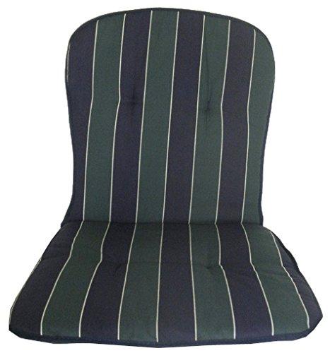 Polster für niedrige Monoblock Stapelstühle in Streifen dunkelblau grün
