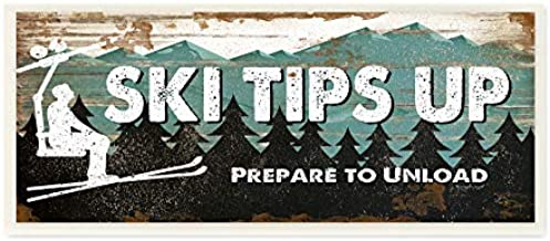 Stupell Industries Blue and White Ski Tips Up Prepare to Unload Rustic Wood Look Lift Sign Wall Plaque, 7 x 17, Multi-Color