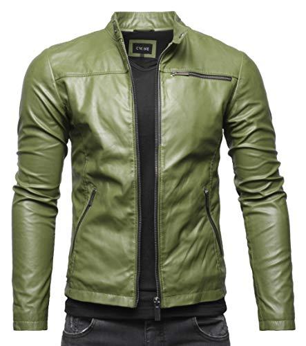 Crone Vego Herren Eco-Lederjacke Cleane Leichte Slim Fit Basic Jacke Vegan (M, Military Green)