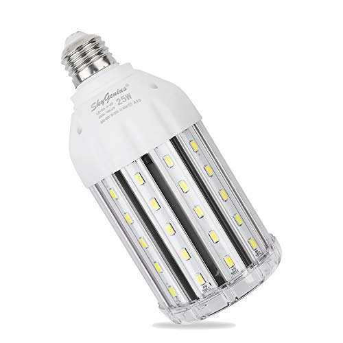 25W Daylight LED Corn Light Bulb for Indoor Outdoor Large Area - E26 2500Lm 6500K Cool White,for Street Lamp Post Lighting Garage Factory Warehouse High Bay Barn Porch Backyard Garden Super Bright