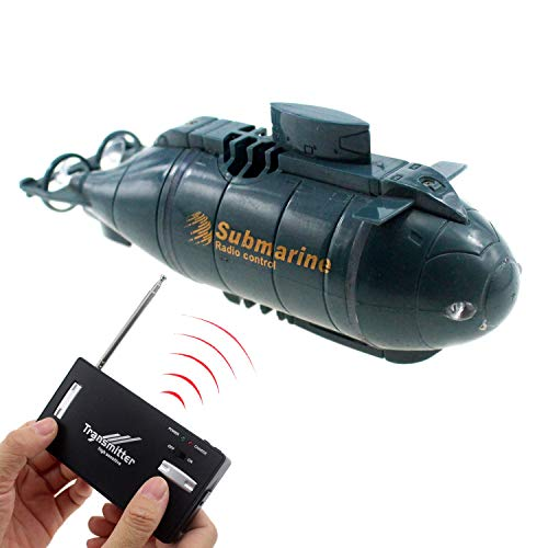 Tipmant 6CH Mini Radio Remote Control Nuclear Submarine Toy RC Boat Electronic Water Kids Gifts (Blue)