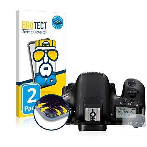 BROTECT Full-Cover Schutzfolie kompatibel mit Canon EOS 77D (Schulterdisplay) (2 Stück) - Full-Screen Displayschutz-Folie, 3D Curved, Kristall-Klar