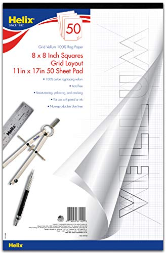 Helix Vellum Paper Pad, 100% Rag, 8 x 8 Grid, 11 x 17 inch, 50 Sheets (37102)