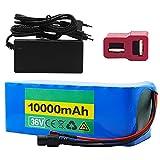 TGHY 36V 10Ah Batería de Litio para Bicicleta Eléctrica con BMS y Cargador Apto para Motor de 500W Paquete de Batería Personalizable para Scooter Eléctrico Kart Eléctrico,T Plug