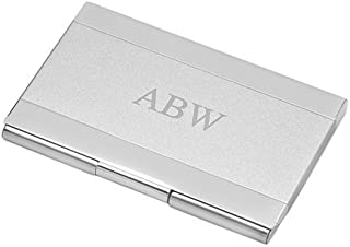 Executive Gift Shoppe | Personalized Business Card Holder | Free Customizable Laser Engraving | Holds Up to 15 Cards | Professional Two Tone Satin Finish | Polished Silver Chrome