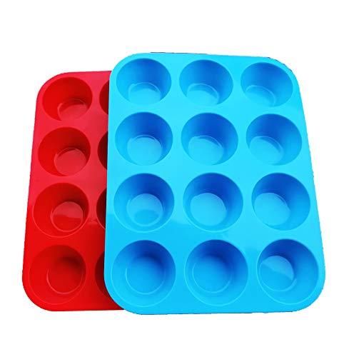 Non-Sticky Silicone Muffin Pan—Muffin Molder for Muffins and Cupcakes—Cupcake silicone molder—Baking Accessory—12 X Muffin Molders (12-Red+Blue)