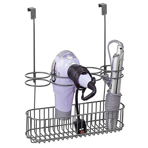 mDesign Soporte para secador de pelo sin taladro – Organizador de baño de metal para secador de cabello, plancha para pelo y...