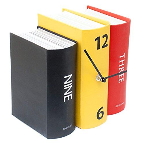 GOODS+GADGETS Buchuhr Uhr analoge Tischuhr im Buch-Papier-Design bunt