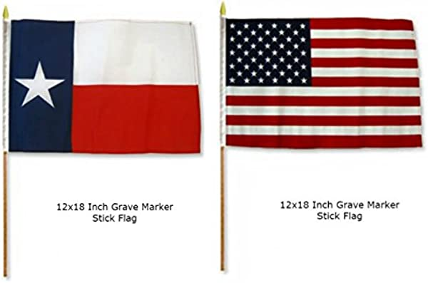 Ant Enterprises Wholesale Combo 2 Two 12x18 12 X18 State Of Texas Lone Star And USA American 50 Star Grave Marker Stick Flags