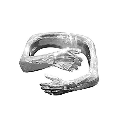 Mingfa Paar Umarmungsring Love Hug Ring Band Open Finger Voll verstellbarer Schmuck, für Männer Frauen Party Ringe Open Ring Geschenk (Silber)