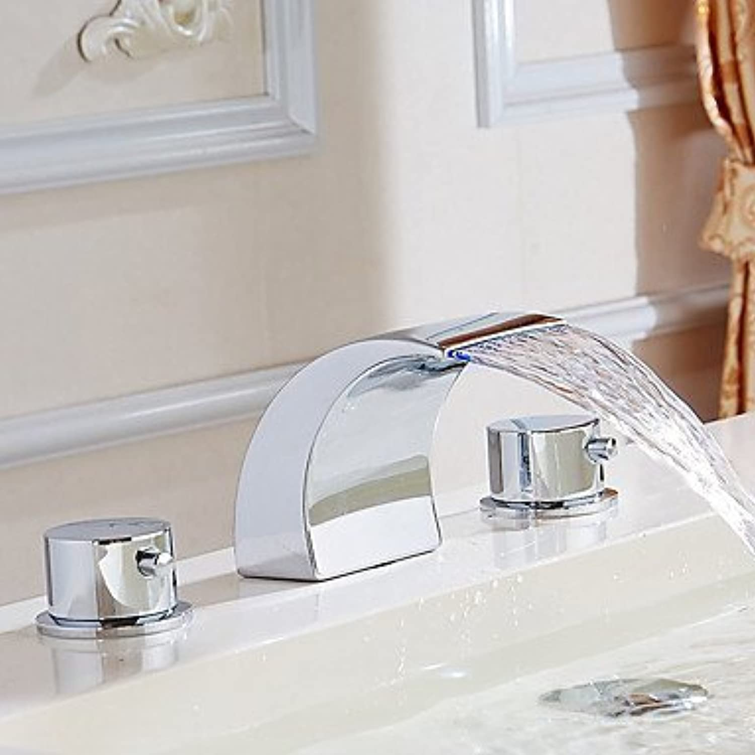 Contemporary Widespread Waterfall withCeramic Valve Two Handles Three Holes forChrome , Bathroom Sink Faucet