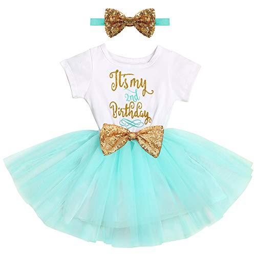 FYMNSI Baby Säugling Mädchen Es ist Mein 2. Geburtstag Party Kleid Outfit Kurzarm Tütü Tüll Prinzessin Geburtstagskleid mit Pailletten Schleife Stirnband Fotoshooting Babykleidung Set Grün