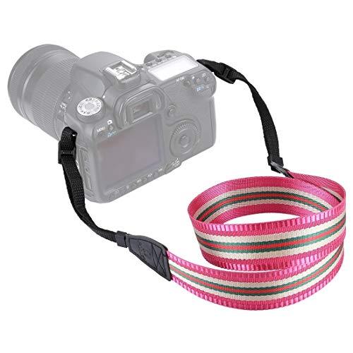 Cuello del Hombro de la Correa Correa de la cámara for cámaras Digitales DSLR /, Raya Serie Estilo Movoo (Color : Rose Red)