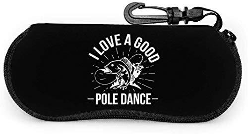 Ich Liebe eine Gute Pole Dance ultraleichte tragbare Brillenetui mit Carabiner Waterproof Zipper Sunglasses Soft Case