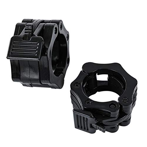 Olympic Barbell Clamps, Quick Release Non-Slip Barbell Collars Clips for 2-Inch Pro Olympic Weight Bar Plate, Lockdown Weight Clamps for Workout Weightlifting Fitness Training (A Pair/2PCS Black)