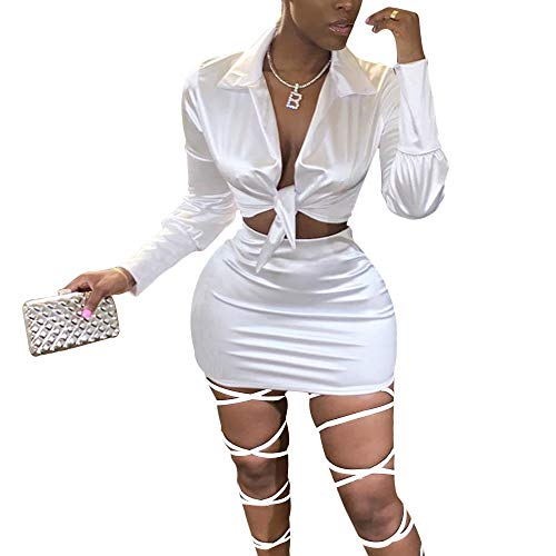 LuFeng Sexy Self Tie Front Long Sleeve 2 Piece Outfits Crop Top and Mini Bodycon Skirt Set