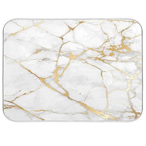 Abtropfmatte für Geschirr, Marmor, weiß, 40,6 x 45,7 cm, für Küche, goldgrau, Marmor, Geschirr, Abtropfgestell, Matte, saugfähig, schnell trocknend, Küchenzubehör