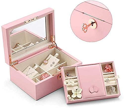 Joyero organizador de madera con cierre retro, con llave, soporte de almacenamiento de joyas con espejo, con llave, funda de piel sintética de microfibra, el mejor regalo para mujeres y niñas (rosa)